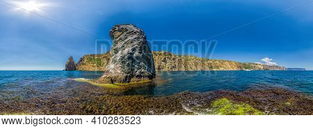 Yachts In The Sea On A Background Of Rocky Shores. Sea Landscape With Yachts And Rocky Coastline. Th