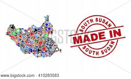 Technical Mosaic South Sudan Map And Made In Textured Rubber Stamp. South Sudan Map Collage Composed