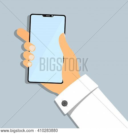 Hand Of Business Person Holding Smartphone Flat Vector Illustration