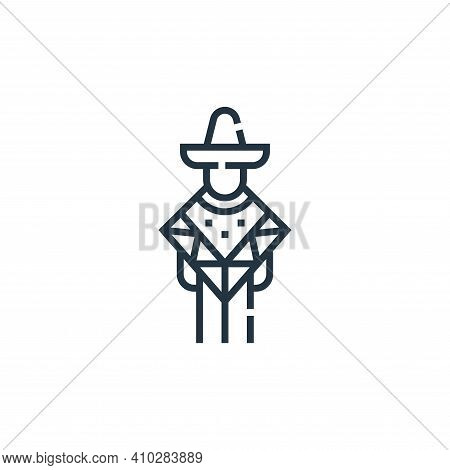 mexican man icon isolated on white background from cinco de mayo collection. mexican man icon thin l