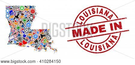 Service Louisiana State Map Mosaic And Made In Scratched Rubber Stamp. Louisiana State Map Abstracti