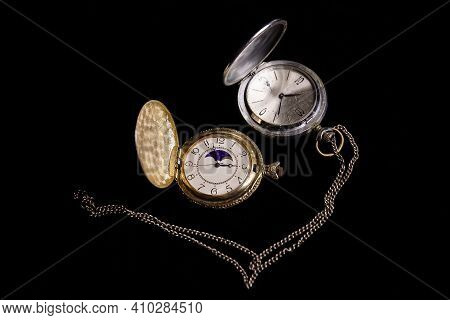 Old Pocket Watch, Old Pocket Watch On Black Background, Watch On Black, Antique Pocket Watch