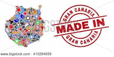 Science Mosaic Gran Canaria Map And Made In Textured Stamp Seal. Gran Canaria Map Composition Formed