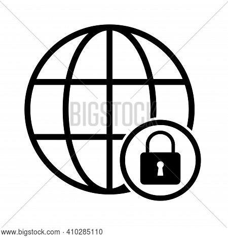 Www World Wide Web Site Symbol, Internet Map Icon, Website Address Globe, Flat Outline Sign .