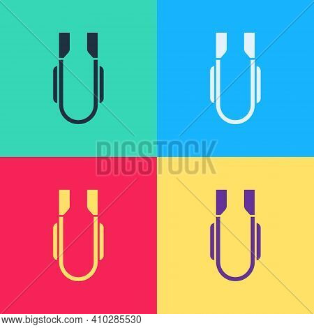 Color Meat Tongs Icon Isolated On White Background. Bbq Tongs Sign. Barbecue And Grill Tool. Abstrac