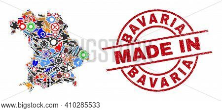 Technical Mosaic Bavaria Land Map And Made In Scratched Rubber Stamp. Bavaria Land Map Collage Creat