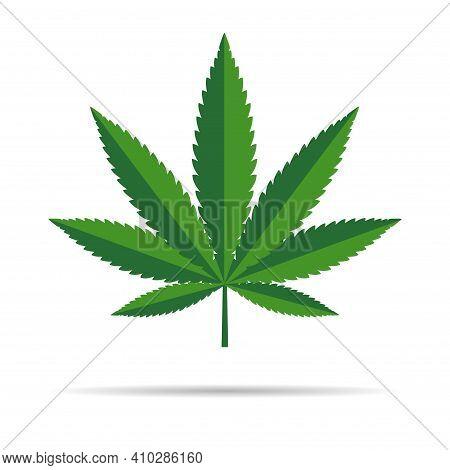 Mariuhana Leaf Symbol, Marijuana Or Hemp Icon, Cannabis Medical Sign, Weed Drug Vector Illustration