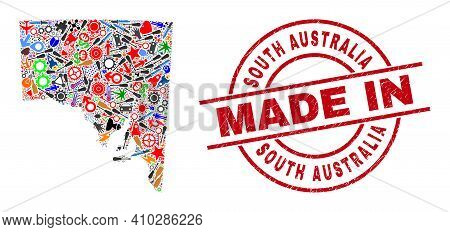 Technical Mosaic South Australia Map And Made In Grunge Stamp. South Australia Map Abstraction Forme