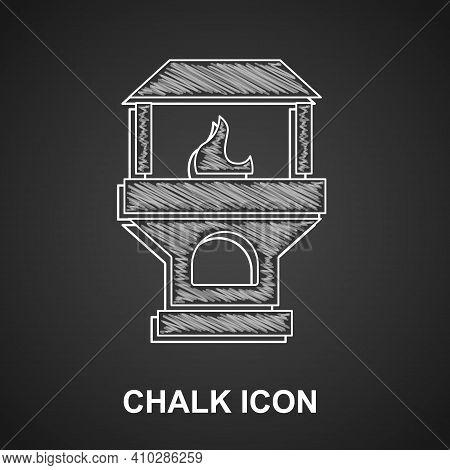 White Brick Stove Icon Isolated On Crumpled Paper Background. Brick Fireplace, Masonry Stove, Stone