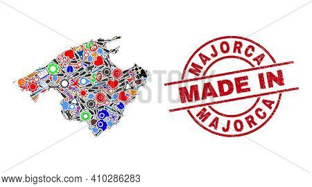 Component Majorca Map Mosaic And Made In Textured Seal. Majorca Map Mosaic Created With Wrenches, Co
