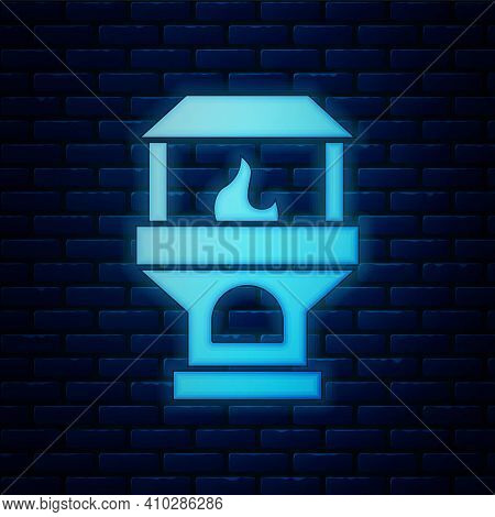 Blue Brick Stove Icon Isolated Seamless Pattern On Red Background. Brick Fireplace, Masonry Stove, S