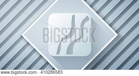 Paper Cut Snake Paw Footprint Icon Isolated On Grey Background. Paper Art Style. Vector
