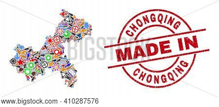 Industrial Chongqing City Map Mosaic And Made In Scratched Rubber Stamp. Chongqing City Map Mosaic C