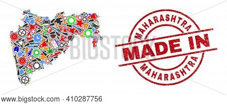 Service Maharashtra State Map Mosaic And Made In Textured Stamp Seal. Maharashtra State Map Abstract
