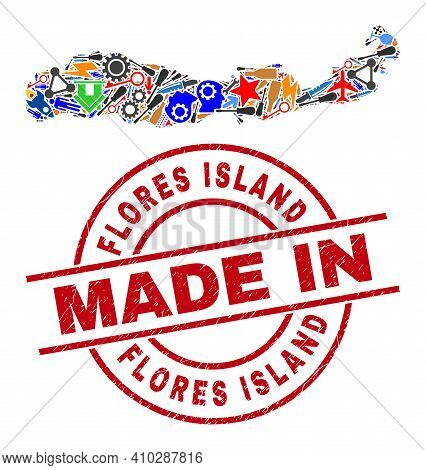 Engineering Mosaic Flores Island Of Indonesia Map And Made In Scratched Rubber Stamp. Flores Island