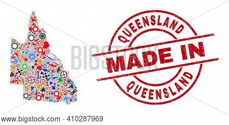 Science Australian Queensland Map Mosaic And Made In Distress Rubber Stamp. Australian Queensland Ma