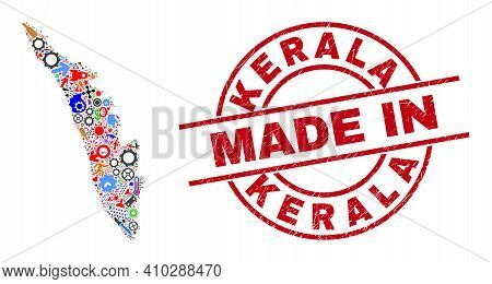 Science Mosaic Kerala State Map And Made In Grunge Stamp. Kerala State Map Abstraction Created With