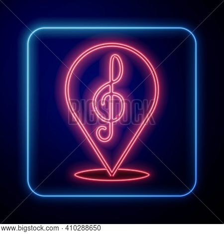 Glowing Neon Treble Clef Icon Isolated On Black Background. Vector