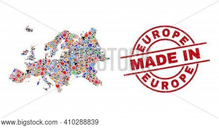 Industrial Europe Map Mosaic And Made In Distress Stamp Seal. Europe Map Collage Formed With Spanner