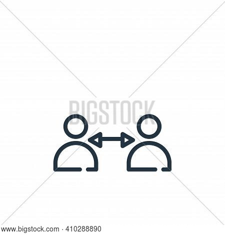 keep distance icon isolated on white background from symptoms virus collection. keep distance icon t