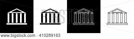 Set Parthenon From Athens, Acropolis, Greece Icon Isolated On Black And White Background. Greek Anci