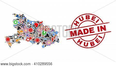 Technical Hubei Province Map Mosaic And Made In Distress Stamp. Hubei Province Map Collage Designed