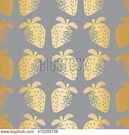 Abstract Gold Foil Effect Strawberry Seamless Vector Pattern Background. Stencilled Berries On Warm