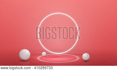 Empty Pink Abstract Scene With Realistic Spheres And Neon Ring On Background, Template For Your Pres