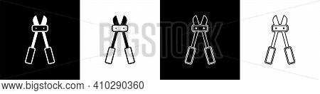 Set Bolt Cutter Icon Isolated On Black And White Background. Scissors For Reinforcement Bars Tool. V