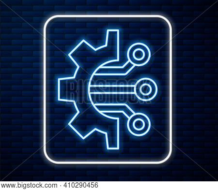 Glowing Neon Line Algorithm Icon Isolated On Brick Wall Background. Algorithm Symbol Design From Art