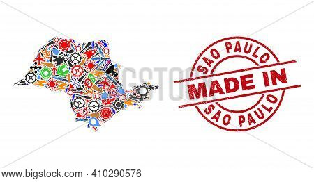 Industrial Sao Paulo State Map Mosaic And Made In Distress Stamp. Sao Paulo State Map Collage Compos