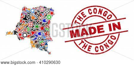 Production Mosaic Democratic Republic Of The Congo Map And Made In Scratched Rubber Stamp. Democrati