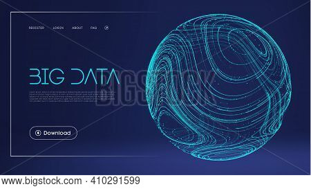 Data Protect Digital Illustration. Abstract Sphere Energy Field. Technology Barrier Blue Background.