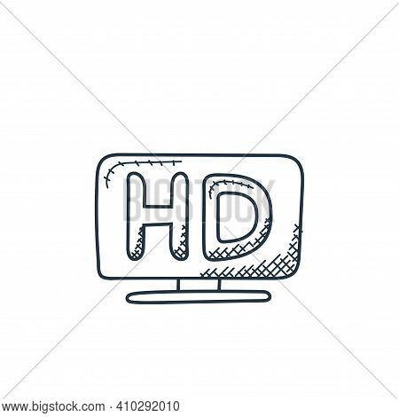 hd screen icon isolated on white background from technology collection. hd screen icon thin line out