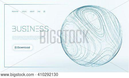 3d Sphere Network Connection. Liquid Flow Vector Illustration. Business Technology Background. Blue