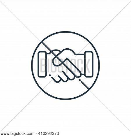 handshake icon isolated on white background from coronavirus collection. handshake icon thin line ou