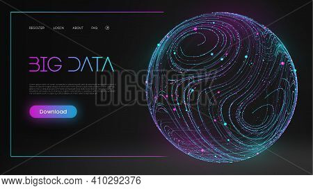 Blue Sphere Shield On Dark Background Colorful Data. Blue Futuristic Background. Abstract Sphere Ene