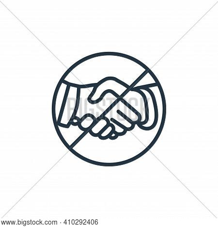 handshake icon isolated on white background from stop virus collection. handshake icon thin line out