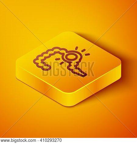 Isometric Line Gut Constipation Icon Isolated On Orange Background. Bowel Problems. Yellow Square Bu