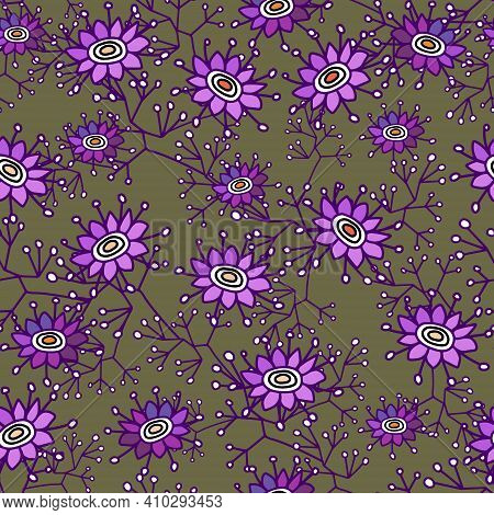 Simple Floral Pattern In The Purple Daisy Flower. Seamless Vector Texture For Fashion Prints, Wrappi