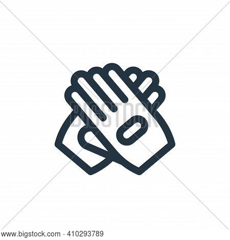 glove icon isolated on white background from auto racing collection. glove icon thin line outline li