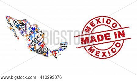 Technical Mexico Map Mosaic And Made In Scratched Rubber Stamp. Mexico Map Collage Formed With Wrenc