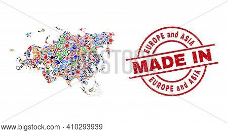 Industrial Europe And Asia Map Mosaic And Made In Grunge Stamp Seal. Europe And Asia Map Mosaic Form