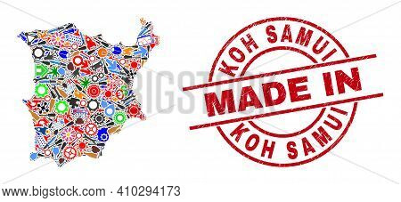 Service Mosaic Koh Samui Map And Made In Scratched Stamp Seal. Koh Samui Map Composition Formed With