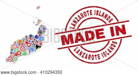 Education Mosaic Lanzarote Islands Map And Made In Scratched Rubber Stamp. Lanzarote Islands Map Mos
