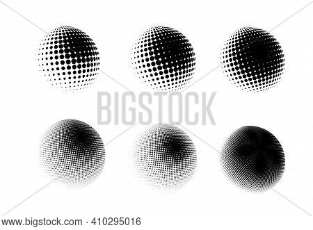 Halftone Sphere Dotted Vector Illustration. Circle Halftone Patterns Dots Logo. Globe Vector Illustr
