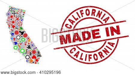 Education California State Map Mosaic And Made In Distress Stamp Seal. California State Map Mosaic C