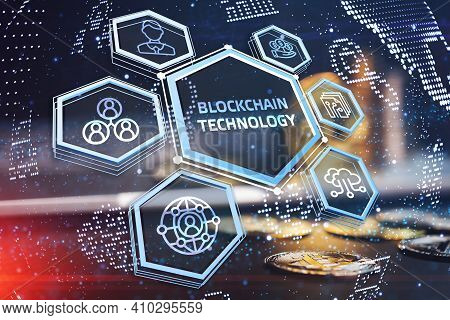 Blockchain Technology . Network, E-business And Global Cryptocurrency Blockchain Business Concept.3d