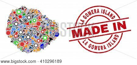Production Mosaic La Gomera Island Map And Made In Grunge Rubber Stamp. La Gomera Island Map Collage