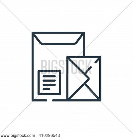 envelope icon isolated on white background from delivery collection. envelope icon thin line outline